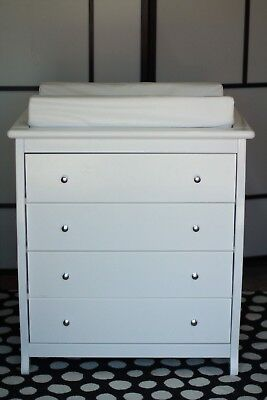 Baby Wooden Sleigh Change Table 4 DRAWER with Pad White Chest Dress