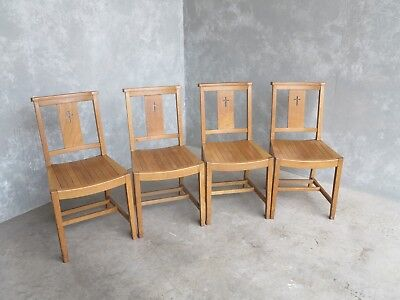 Set of 4 Oak Church Chairs - Chapel Chairs - Reclaimed Old Seats