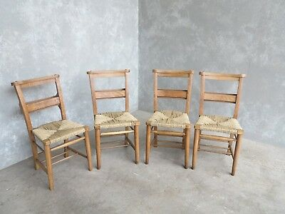 Set of 4 Rush Seated Church Chairs - Chapel Chairs - Reclaimed Old Seats