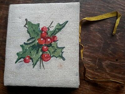 Antique Sewing Needle Book Case Christmas Mistletoe Handmade 1890/1900 3 1/2""