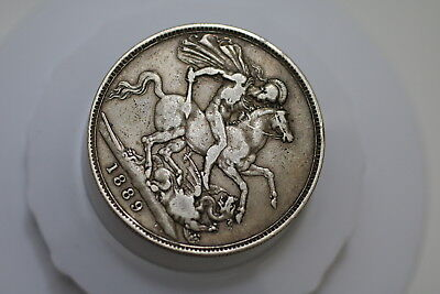 Uk Gb Crown 1889 Silver Victoria Nice Details A71 #589