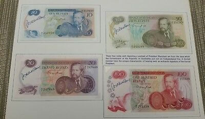 Seychelles set of 10, 20, 50 and 100 rupees 1976 President signed super rare