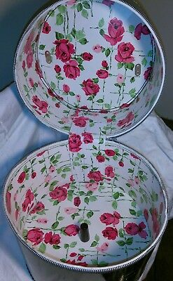 Retro Black Patent Leather Rose Floral Zippered Tall Hat Box Wig Luggage Case