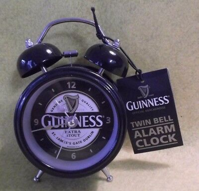 NEW Guinness Extra Stout Beer Mini Desk Office Twin Bell Alarm Clock w/ Tag