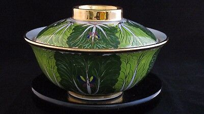 Vintage Hand Painted Gilded and Green Large Lidded Lotus Bowl by Jirapha Ceramic