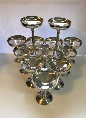 Silver Plate Champagne Coupes  Set of Twelve  Made in Spain 3452