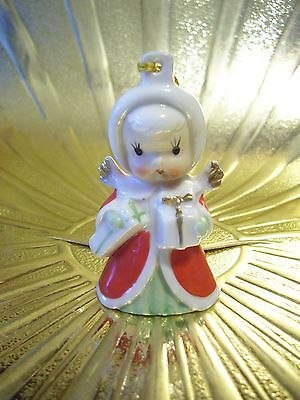 Very RARE VTG Japan Tiny Christmas Angel Girl Holds Gifts Bell Figurine Ornament