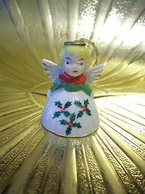 Very RARE VTG Japan Tiny Christmas Angel Girl Holly Dress Bell Figurine Ornament