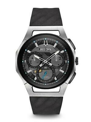 Bulova Men's Curv Chronograph Black Strap Skeleton Dial Watch 98A161
