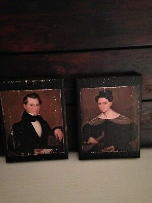 ~*Primitive Colonial Early Style Mr. & Mrs. Cox Mini Canvas Portraits*~