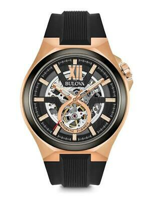 Bulova Men's Classic Skeleton Dial SS Black Silicone Automatic Watch 98A177