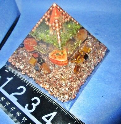"""3 1/2"""" h Orgone Pyramid Fused w/ALCHEMY Calls to it's intended person to help!"""