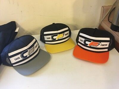 Lot Of 3 Embrace The Grind Cage Fighter Hats Orange Yellow Black MMA Wrestling