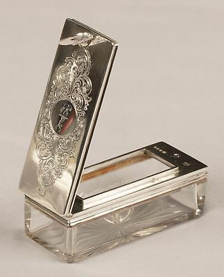 Silver & Glass Travelling Inkwell  London 1850