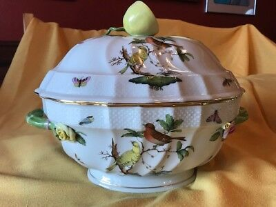 Herend Rothschild Bird 2-Quart Tureen with Lemon Finial and FREE Mini-Tureen