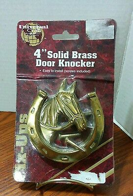 "Vintage Solid Brass Horse Head Horseshoes Door Knocker 4"" NOS"