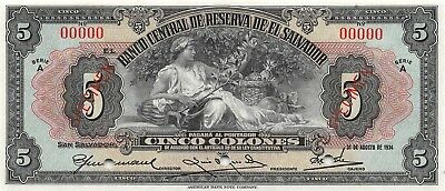 El Salvador  5 Colones  31.8.1934  P 77s  Series  A  Uncirculated Banknote
