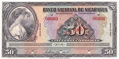 Nicaragua   50  Cordobas  1942  P 96as  Specimen  Uncirculated Banknote