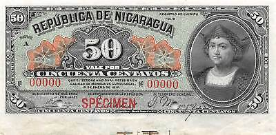 Nicaragua   50  Centavos  ND.  1.1.1910  P 43as  Specimen  Uncirculated Banknote