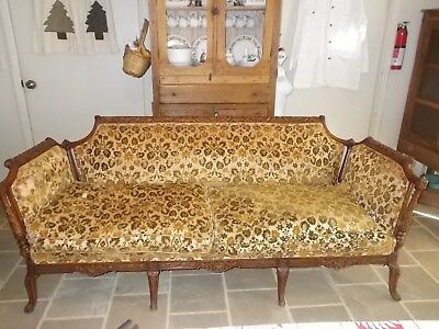 RARE- Antiquehand-carved sofa- as is
