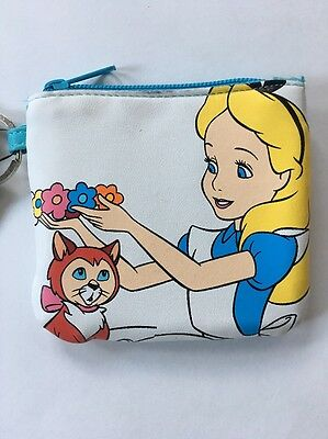 New Disney Alice In Wonderland Dinah Coin Purse Bag Zippered Wallet With Keyring