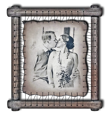 Paper anniversary gift Personalized - Your custom photo hand engraved on leather