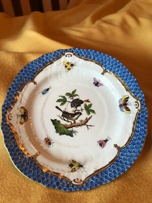 Herend Rothschild Bird with Blue Border Bread Plate Motif 6