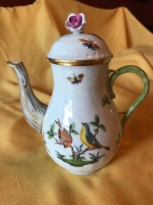 Herend Rothschild Bird Coffee Pot w/Pink Rose