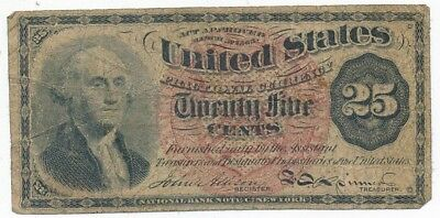 1863 U.s. Twenty Five Cent 25 Cents Fractional Note-Circulated-Ships Free!