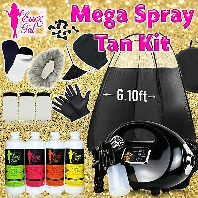 New Spray Tanning Kit Pro 700 Watt HVLP with Tent + Tanning Soultions+ Erasers+