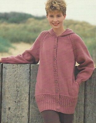 Ladies Knitting Pattern Cardigan With Scalloped Lace Edge 30 40 Dk