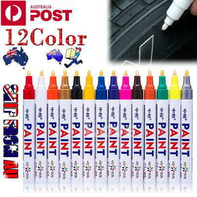 12x Multicolored Rubber Permanent Paint Marker Pens Car Tyre Tread Waterproof OZ