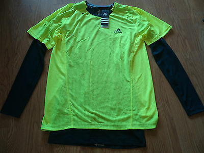 Adidas Sq 2In1 L/s Running T-Shirt Medium Bnwt Rrp £34.99