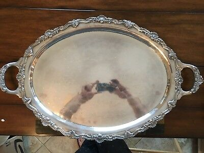 "Hand Hammered Sterling 28"" Heavy Ornate Coffee / Tea Tray Platter Butler Service"