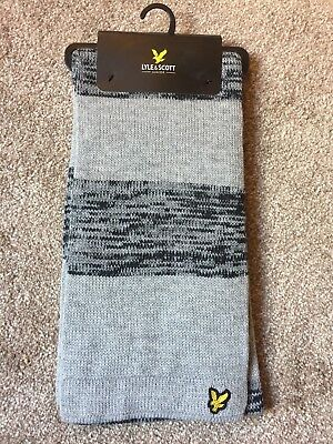 Lyle and Scott Junior Scarf Grey & Black Stripe Brand New Jacquard Knitted Warm