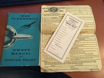 1955 Oldsmobile Owner Manual & Service Policy & Delco Battery Info 35+ pages