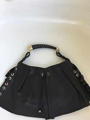 1b8f96fedc43 YSL YVES SAINT Laurent Rive Gauche Black Leather Mombasa Shoulder ...