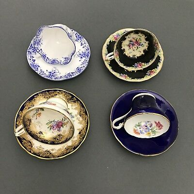 Lot of Four Vintage English Tea Cup and Saucer Sets, Bone China