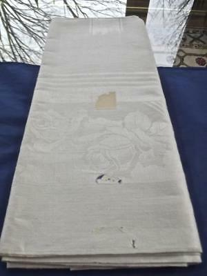 "Vintage Unused Gray Irish Linen 64""Sq Tablecloth Topper Art Deco Damask Roses"