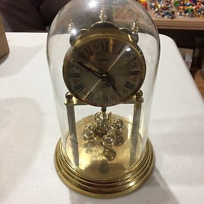 West German Alpine Glass Domed Anniv. Clock I Battery