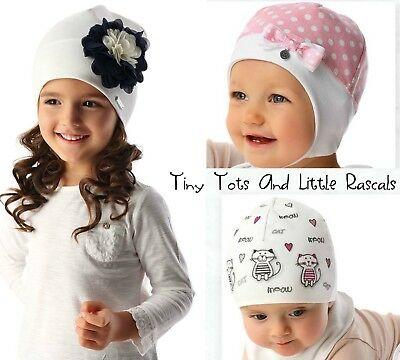 Baby Girls Toddlers Spring Autumn Cotton Elastic Hat Cap Beanie Size 0 - 4 years