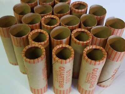 25 Quarter Paper Coin Wrappers. Pre-Crimped 1 End Shotgun Rolls. $0.25 Quarters