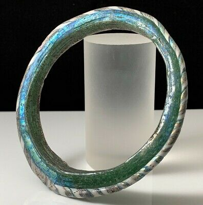 Ancient Roman Green Glass Bracelet 1St-2Nd Cent A.d. Nice Iridescence!!