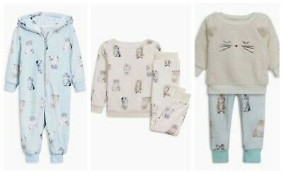 NEXT Pyjamas Pjs Girls All In One Cat Teal Cream Soft Fleece Set BNWT Gift Xmas