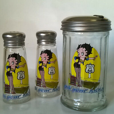 Betty Boop Route 66 Vintage Salt & Pepper Shakers + Sugar  Dispenser Lot of 3
