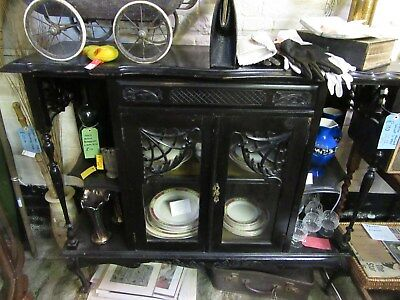 Victorian ebonised and glased display cabinet