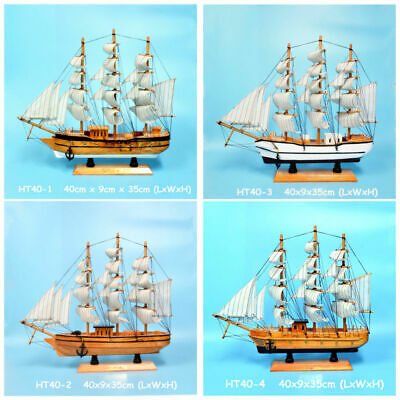 New Gift Hobby Collection Vintage Retro 40cm Wooden Handmade Sailing Ship Model