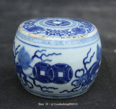 Chinese Blue White Porcelain flower Metering tool Pot Jar