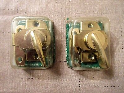 Vtg Amerock Window Sash Lock Latches Antique  Polished Brass - Lot of 2 - NOS