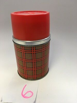 Vintage Red & Black Plaid Aladdin Wide Mouth Pint Thermos Bottle Made In USA